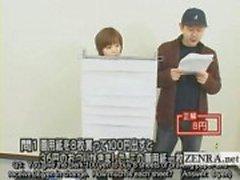 Tekstitetty japanilainen tietovisa kanssa nudisti Japanin opiskelija