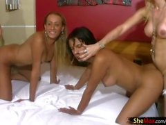 Four Latina TS girlfriends turn innocent part