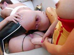 massive strap on dildo for flexy lesbian assholes