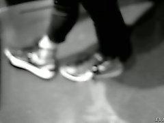 Redhead Dani Jensen in mini skirt gets her feet fondled