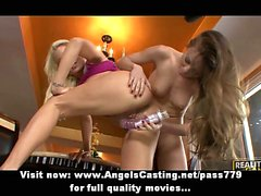 Two hot blonde lesbians toying pussy with dildo and licking pussy