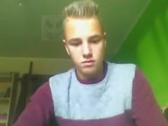 Danish 18 Yo Blond Boy Is On His Room In Home & Player Cock On Cam