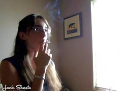 Girl smoking Virginia Slims while mom is at work