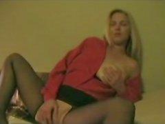 Milf masturbating in crotchless panty hose