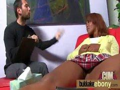 Ebony cutie sucks several dicks for a facial bukkake 14