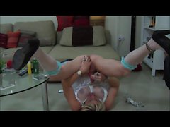 Tranny Cums on her Own Face and Swallows