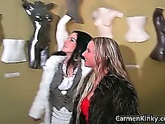 Sexy Carmen sculpting her girlfriends