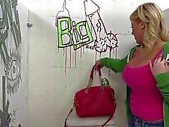Buxom blonde IR BJ & creampie