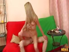 Blonde Alina blows and rides his cock until he gives her a mouthful