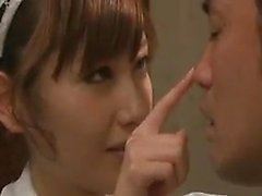 Striking Japanese maid seduces her boss to fulfill her sexu