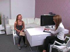 Female agent fucks brunette lesbian babe with cucumber
