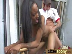 Ebony gets fucked in all holes by a group of white dudes 27
