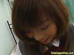 Busty oriental schoolgirl riding POV cock