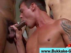 Interracial cock sucking for bukkake dude