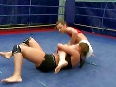 Sexy brunettes wrestling