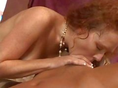 Nasty redheaded bitch dominates his cock in her tight little ass
