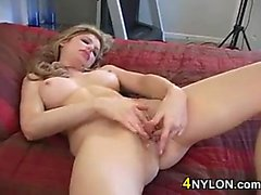Blonde Chick Takes Off Her Pantyhose