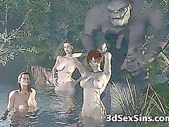 Monstruos en 3D jodan Chicas !