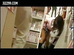 Schoolgirl fucked in comic book shop