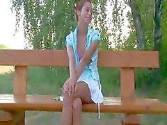 Russian teen couple bang on a bench