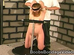 Perv ties his hot blonde slave in her knees to a pole