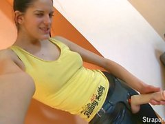 StraponCum: Agnes shooting herself in leggings