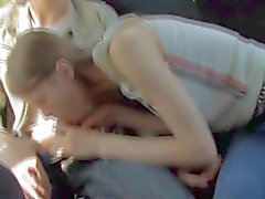 Beata takes two dicks in the backseat