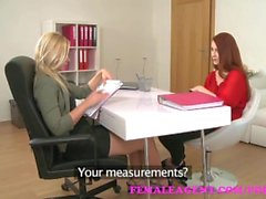 FemaleAgent. Sexy blonde slides her strap on into slim redhead