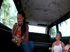 Choco sexy girl showing round tits in bus threesome