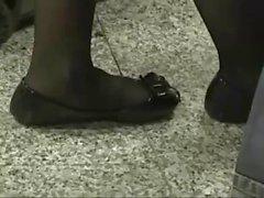 Candid Black Nylon Shoeplay Feet at Airport