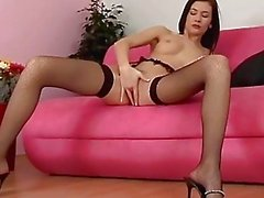 Compilation of masturbation in fishnet stockings