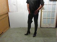 My old thigh boots and cock out