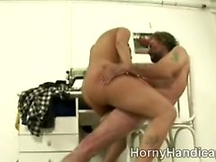 Horny brunette juggy squeals with an old cripples cock