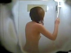 Shiny breasts shaking and has a shower.