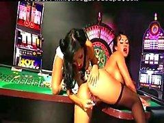 Sexy brunettes dildoing on billiard table
