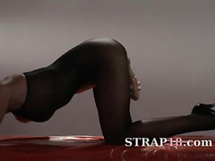 Hot schoolgirl in pantyhose masturbating