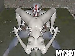 Two horny 3D cartoon zombies having some hot sex