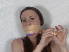 Wrap Tape Gagged 5 - (Serene Self Gag)