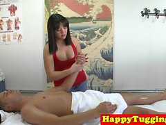 Jerking asian masseuse tugging and riding