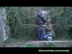 czech couple fucks in public