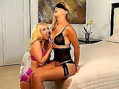 Unique blonde lezzies gagging pussies