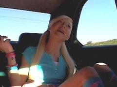 blonde teen car masturbation
