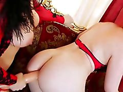 Anal obsessed lesbos extreme ass play with enormous strapon