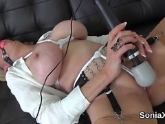 Adulterous english milf lady sonia displays her large tits