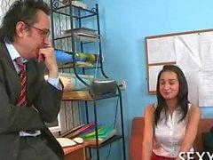 Interviewed teen gets the job after a handjob