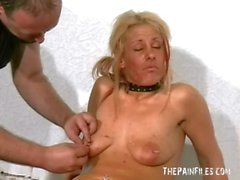 Blonde slave waxed and piercing in messy bdsm films of english fetish pornstar