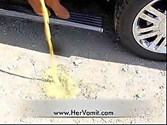 Car Sick Girl Vomit Puke Puking Gag Gagging