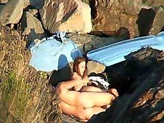 Den gömda kameran footage av strand könet