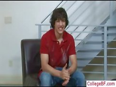 Cute college guy undressing