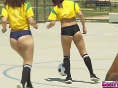 Hottie teens gets fucked hardcore on their soccer party